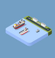 port cargo ship transport vector image vector image