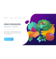 raw veganism and fresh food landing page vector image
