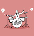 retro cartoon music drummer player playing a song vector image vector image