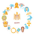 round banner with egypt symbols in flat style vector image