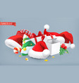 santa hat christmas tree and gifts 3d icon vector image vector image