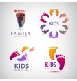 Set of feet steps footprints logos vector image