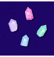 Set of magic crystals Polygonal shiny gems vector image