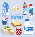 set of milk products dairy produce in colorful vector image