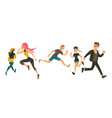 set of people running away in fear and panic vector image vector image