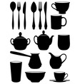 set of silhouettes dishes vector image