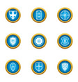 shield sewn icons set flat style vector image
