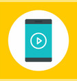 smartphone video play icon flat style vector image vector image