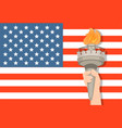 statue of liberty hand with torch and usa flag on vector image vector image