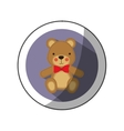 sticker color silhouette with teddy bear in round vector image vector image