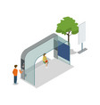 street waiting station isometric 3d icon vector image