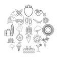 summer season icons set outline style vector image vector image