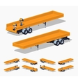Trailer with the yellow open platform vector image vector image