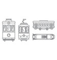 tramway icon set outline style vector image vector image