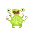 Green Tattooed Friendly Monster With Sweets vector image