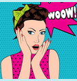 surprised woman in pop art style with wow sign vector image