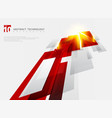 abstract perspective technology geometric red vector image vector image