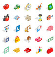 assistance to business icons set isometric style vector image vector image