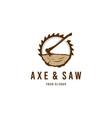 axe saw logo vector image vector image