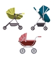 Baby carriage or buggy folding stroller icons vector image vector image