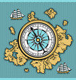 background with old nautical map vector image vector image