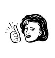beautiful girl or young woman showing thumbs up vector image vector image