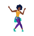 black girl listen music dance african american vector image