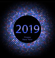 blue discoball new year 2019 greeting poster vector image vector image