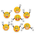 cartoon cute emoticons with hands gesture set vector image