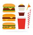 cheeseburger burger with beef veggie burger vector image vector image