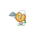 chef with food cake apple pie cartoon character
