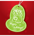 christmas greeting with santa bag vector image vector image