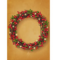 christmas wreath with red berries festive vector image