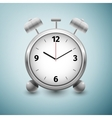 Classic silver alarm clock icon isolated on blue vector image vector image