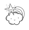 cloud and rainbow cartoon in black and white vector image