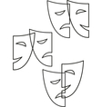 contour theatrical masks tragedy and comedy vector image