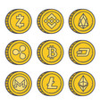 cryptocurrencies gold coin set vector image vector image