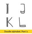 Cute hand drawn alphabet doodle letters I-L vector image