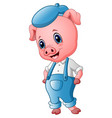 cute pig cartoon posing vector image vector image