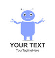 funny cartoon blue color friendly robot character vector image
