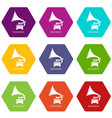 gramophone icons set 9 vector image