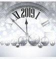 grey shiny 2019 new year background with clock vector image