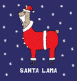 hand-drawn colorful santa lama in a christmas suit vector image