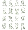Hand Drawn Portraits Set vector image vector image
