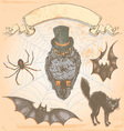 Hand Drawn Vintage Halloween Spooky Owl Set vector image vector image