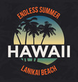 Hawaii beach tee print with palm tree t-shirt