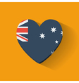 Heart-shaped icon with flag of Australia vector image vector image