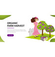 its organic harvest time flat horizontal banner vector image