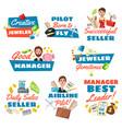jeweler seller pilot and businessman vector image vector image