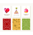 Merry christmas set pattern ornament greeting card vector image